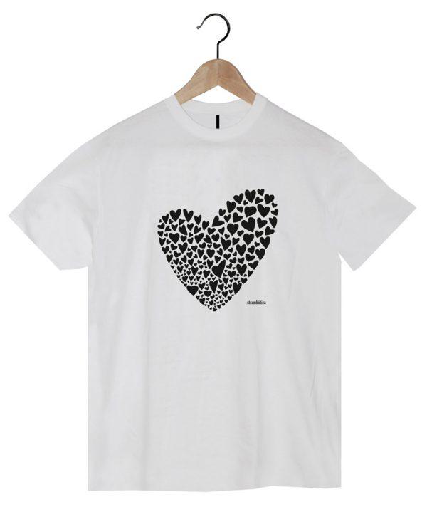 camiseta algodón orgánico corazones strambotica